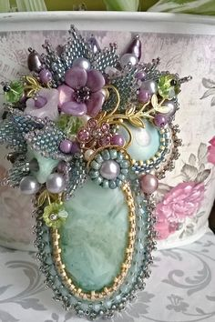 Stanley hagler inspired bead embroidered brooch Sweet Desire