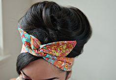 Bohemian dolly bow headband , Chic Head wrap