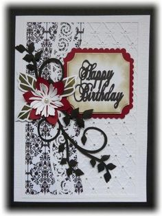 Lacy mat with flower and flourish topper, cameo ready on Craftsuprint designed by Lyn Simms - made by Maureen Garrigan - All elements for this file were cut on my Silhouette using various colours of smooth card and a designer paper and then attached to an A5 blank card. They were assembled using Glue Gel and foam pads. I embellished the finished card with gems...a stick on pearl and a sentiment also cut on my Cameo. Was really pleased with the end result...it's a lovely card when completed…