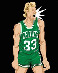 Inspired by the Sports Illustrated cover of the same name and not the movie. Muideen Ogunmola captures Larry Bird in all of his 1987 season glory. I Love Basketball, Basketball Shirts, Basketball Legends, Basketball Players, Celtics Basketball, Celtic Pride, Celtic Fc, Sports Art, Sports Pics