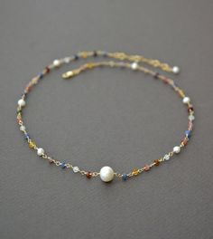 Small Multi Gemstone Necklace with Freshwater Pearls, Gold Fill, Tiny Delicate Colorful Gems, Rosary Style, 18 Inch, Artisan Jewelry