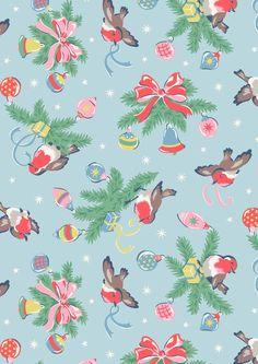 Christmas Robins (736×1041) birds Christmas Mood, Noel Christmas, Retro Christmas, Christmas Fabric, Christmas Design, Christmas Ideas, Vintage Christmas Wrapping Paper, Vintage Christmas Images, Christmas Background