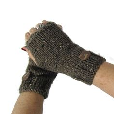 Brown Mitts, Fingerless Gloves, Knit Gloves, Texting Gloves, Brown Gloves, Barley,  Girls, Womens, Fiber Art - pinned by pin4etsy.com