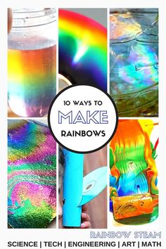 Making Rainbows STEM Ideas Rainbow STEAM Activities for Kids. Explore light and refraction science experiments for kids.