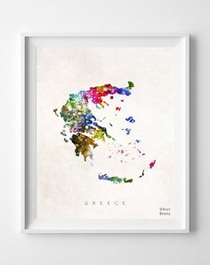 Greece Map Athens Watercolor Greek Europe Home by InkistPrints, $11.95 - Shipping Worldwide! [Click Photo for Details]