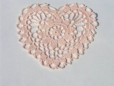 Pink Heart - Crocheted Doily
