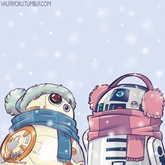 Star Wars || BB-8 and R2-D2 ready for winter.