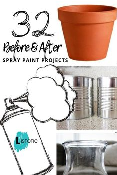 great ideas for what you can do with a simple can of spray paint. DIY and restoration project ideas for adults'. Great way to DIY your outdoor furniture or create brand new home décor out of thrift store finds. Spray Paint Projects, Diy Spray Paint, Diy Craft Projects, Craft Ideas, Diy Ideas, Project Ideas, Crafts For Teens To Make, Crafts To Sell, Diy And Crafts