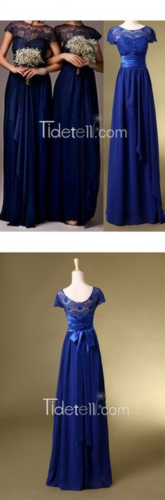 Royal Blue A-line Illusion Scoop Neck Lace Long Bridesmaid Dress