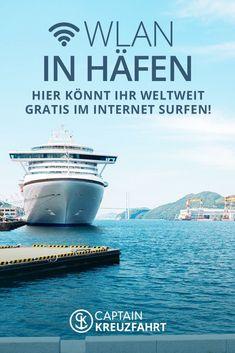 Ihr wollt auch auf Kreuzfahrt nicht auf Internet verzichten? Hier könnt ihr weltweit gratis an Kreuzfahrtterminals im Internet surfen! #captainkreuzfahrt #tipps #kreuzfahrt #internet