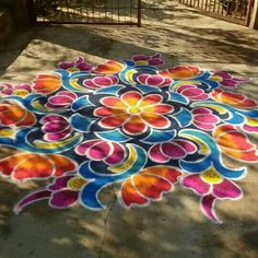Couleurs Couleurs, Chalk is this type of fun method to be creative! It has a wonderful texture, many colors, and can b, Rangoli Border Designs, Small Rangoli Design, Colorful Rangoli Designs, Rangoli Designs Diwali, Rangoli Designs Images, Beautiful Rangoli Designs, Kolam Rangoli, Rangoli Borders, Rangoli Patterns