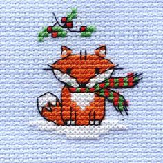Mini Cross Stitch Kit Christmas Fox 64 X 64 Mm | Hobbycraft