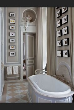 American Couple's Paris Home Celebrates French Style The master bathroom of a Paris apartment designed by Jean-Louis Deniot.The master bathroom of a Paris apartment designed by Jean-Louis Deniot. Grey Room, Architectural Digest, Paris Home, Home, Interior, Bathroom Design, Apartment Design, Traditional Bathroom, Home Decor