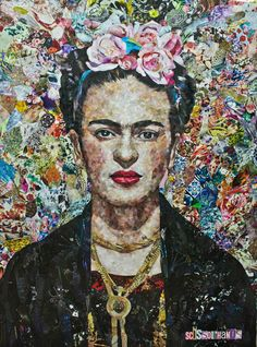 Frida, a Paper on Paper by Alina Pivnenko from Ukraine. It portrays: Pop Culture/Celebrity, relevant to: portrait, black, collage, colorful, frida kahlo, flower, artist, magazine Work made in collage technique with tiny pieces cut from the magazines.