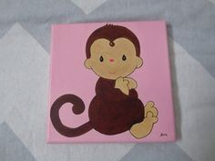 Baby monkey painting oil paint  $10
