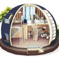 Top 40 Geodesic Dome Home Ideas 2018 Geodesic Dome Homes, Monolithic Dome Homes, Dome House, Earth Homes, Round House, Future House, Design Case, Architecture Design, House Plans
