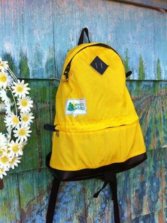 Vintage 70's North Woods Bright Yellow Nylon Backpack Rucksack Leather Diamonds Hiking Bag Camping Grunge Punk Rare North Face Made in Japan $32.00