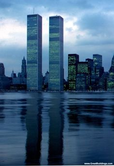Photo, newly constructed World Trade Center towers at dusk, before Battery Park City. · World Trade Center · New York, New York World Trade Center Nyc, Trade Centre, New York Architecture, Architecture Images, 11 September 2001, Ville New York, Voyage New York, I Love Nyc, Famous Landmarks