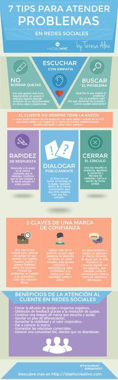 7 consejos para atender problemas en Redes Sociales #infografia #marketing #socialmedia