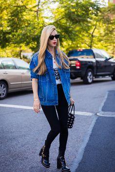 NYFW Street Style - oversized jean jacket