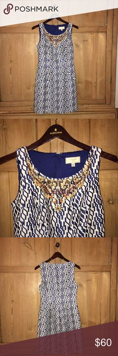 Blue and White Beaded Dress Blue and a White beaded dress from Anthropologie Anthropologie Dresses Midi