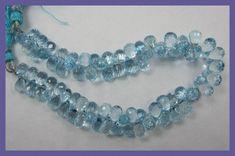 AAA+ SKY BLUE TOPAZ BRIOLETTE DROPS-8.00 X 4.50MM-SUPERB  Topaz bead gemstone,beads, gemstone on gemrockauctions