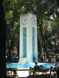 Art Deco clock tower in Parque México, Colonia Condesa, Mexico, City. Unusual Clocks, Outdoor Clock, Western Caribbean, Mexico Art, Mesoamerican, México City, Marble Columns, Chicano, Art Deco Design