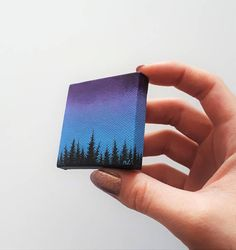 Forest Silhouette Painting Forest At Dusk Blue Purple Sky Galaxy Painting, Diy Painting, Polymer Clay Painting, Forest Silhouette, Silhouette Painting, Cute Paintings, Pretty Drawings, Forest Painting, Mini Canvas Art