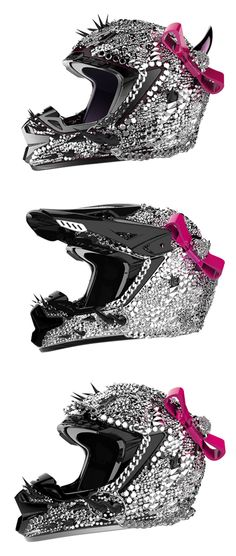 Crystal and Spike Moto Helmets