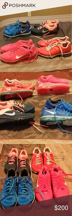 4 pairs of Nike AirMax size 8.5 in excellent condi 4 pairs of Nike AirMax  all worn only a handful of times. Size 8.5 I have too many pairs of these shoes but I tend to only wear certain colors all the time so these just sit in my closet. I prefer to sell them as a whole altogether but willing to sell separate. Separately  asking 60.00 each or 200.00 for all 4 pair Nike Airmax Shoes Athletic Shoes