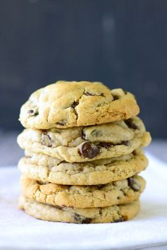 These chocolate chip cookies will please even the most die-hard chocolate chip cookie lover. How do I know? Because I am a chocolate chip cookie fanatic and I LOVED these!