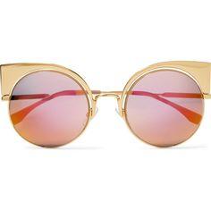 Fendi Eyeshine cat-eye gold-tone mirrored sunglasses (6.200.415 IDR) ❤ liked on Polyvore featuring accessories, eyewear, sunglasses, glasses, jewelry, cat-eye glasses, mirrored glasses, mirrored cat eye sunglasses, fendi eyewear and mirrored lens sunglasses