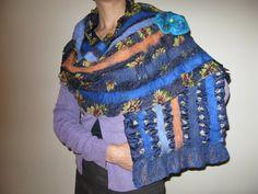 Navy blue flower nuno felt silk wool shawl wrap scarf by feltinga, $24.90