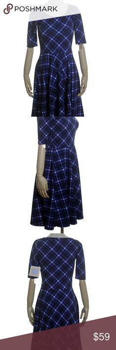 """LULAROE Nicole Plaid Textured Swing Dress New CONDITION: New with tag.  PRODUCT DETAILS: knit, stretch, swing skirt color: blue, white 96% Spun Polyester, 4% Spandex Machine Wash  MEASUREMENTS: Bust-33"""" Shoulder-14"""" Sleeve-11"""" Waist-26 Length-39"""" LuLaRoe Dresses"""
