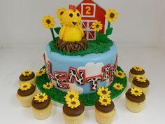 Barnyard farm theme birthday cake