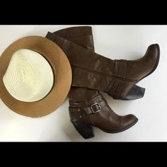 """⏬Fergalicious Brown Boots EUC, one small scratch on leather pictured and chips on one zipper also pictured. Heel height 3"""". Make an offer using the offer button or take advantage of my bundle discount! Trades PP Fergalicious Shoes Heeled Boots"""