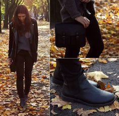 H&M Jacket, Zara Sweaters, H&M Jeans, H&M Boots, Topshop Bag