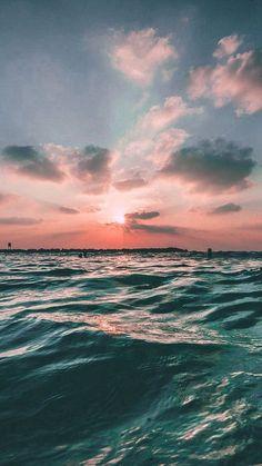 Sunset Sea Sky Ocean Summer Green Water Nature #iPhone #7 #wallpaper