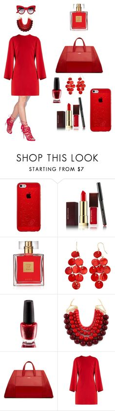 """ruby"" by ayeshaghori ❤ liked on Polyvore featuring Kevyn Aucoin, Avon, OPI, La Perla, Givenchy and Dolce&Gabbana"