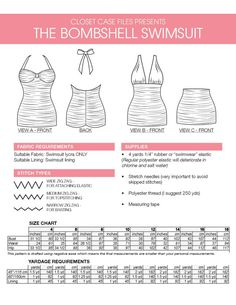 Bombshell swimsuit / bathing suit PDF Pattern. by ClosetCaseFiles, $10.00
