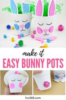 Create your own adorable DIY Easter bunny pots like @ellaandannie. These little flower pots are so easy to make and serve as great Easter decor! #easter #eastercrafts