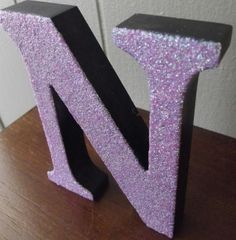 4.5 x 3.5 Purple Glittered Wooden N Free Standing by OnlyMaggies, $3.50