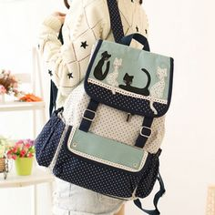 Korea's cute cat student canvas backpack sold by Women Fashion. Shop more products from Women Fashion on Storenvy, the home of independent small businesses all over the world. Totoro Backpack, Stylish Backpacks, Europe Fashion, Canvas Backpack, Harajuku Fashion, Cute Bags, My Collection, Fashion Backpack, Diaper Bag