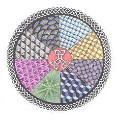 Celtic Rainbow Mandala drawn in pen and coloured pencil, 2011