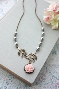 Hey, I found this really awesome Etsy listing at https://www.etsy.com/listing/89339863/pink-rose-flower-brass-leaves-branch