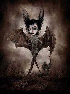 by Toon Hertz (fantasy art, demon, bat girl)