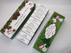 MODELO :  Caixa Bis Personalizado para o Natal  Temos 5 Opções de modelos ( a escolher).    COMPLEMENTO:  Acompanha a caixa , fita de cetim verde ou vermelha ( cor a combinar), Tag de agradecimento , saco plástico , 20 Bis personalizado com desejos para o Ano Novo.    Temos opção de caixa c/ 6 Bis - R$5,50 (s/ tag e saco plastico).    PAPEL:  Impressão em fotográfico peso 180gr ou fosco ( a combinar).    ENVIO:  Por carta registrada, PAC ou E sedex ( a combinar)    QUANTIDADE MINIMA : 4 ...