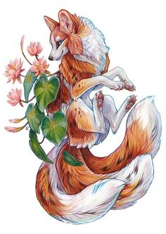 Cute Fantasy Creatures, Mythical Creatures Art, Fox Fantasy, Fantasy Art, Animal Sketches, Animal Drawings, Fox Illustration, Creature Drawings, Desenho Tattoo