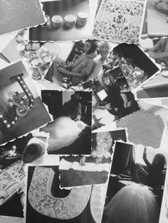 Black and white Photo collage of the crafting leading up to the wedding