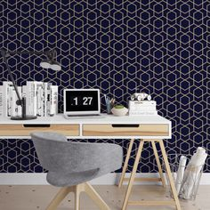 Navy and Gold Removable Wallpaper
